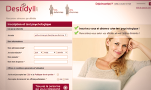 Capture d'écran du site de rencontre Destidyll